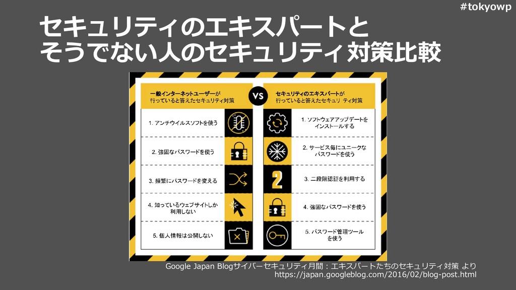 #tokyowp セキュリティのエキスパートと そうでない人のセキュリティ対策比較 Googl...