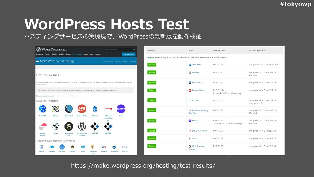 #tokyowp WordPress Hosts Test ホスティングサービスの実環境で、W...