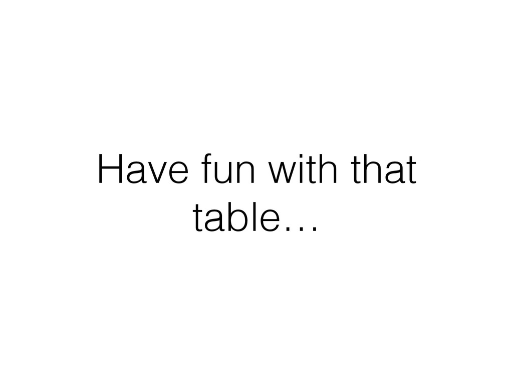 Have fun with that table…