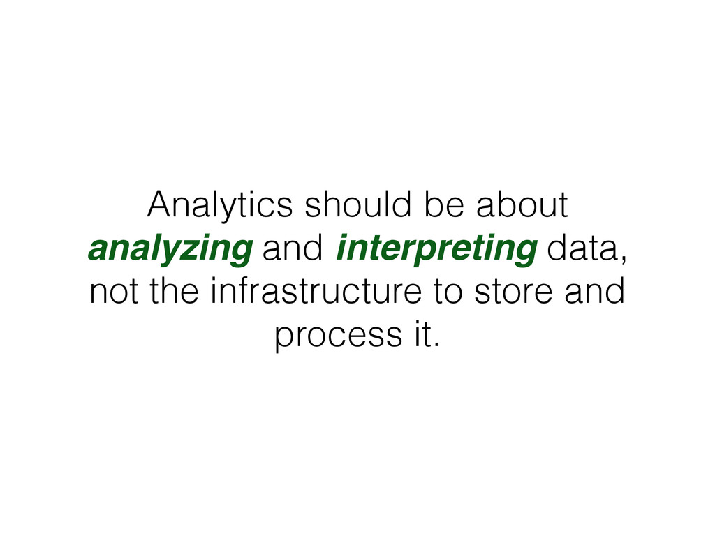 Analytics should be about analyzing and interpr...