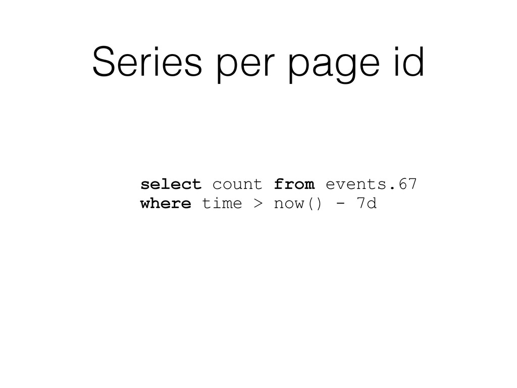 Series per page id select count from events.67 ...