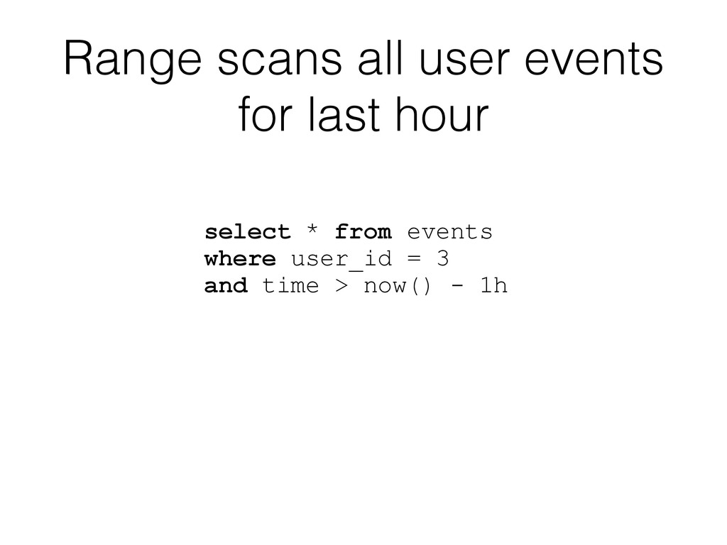 Range scans all user events for last hour selec...