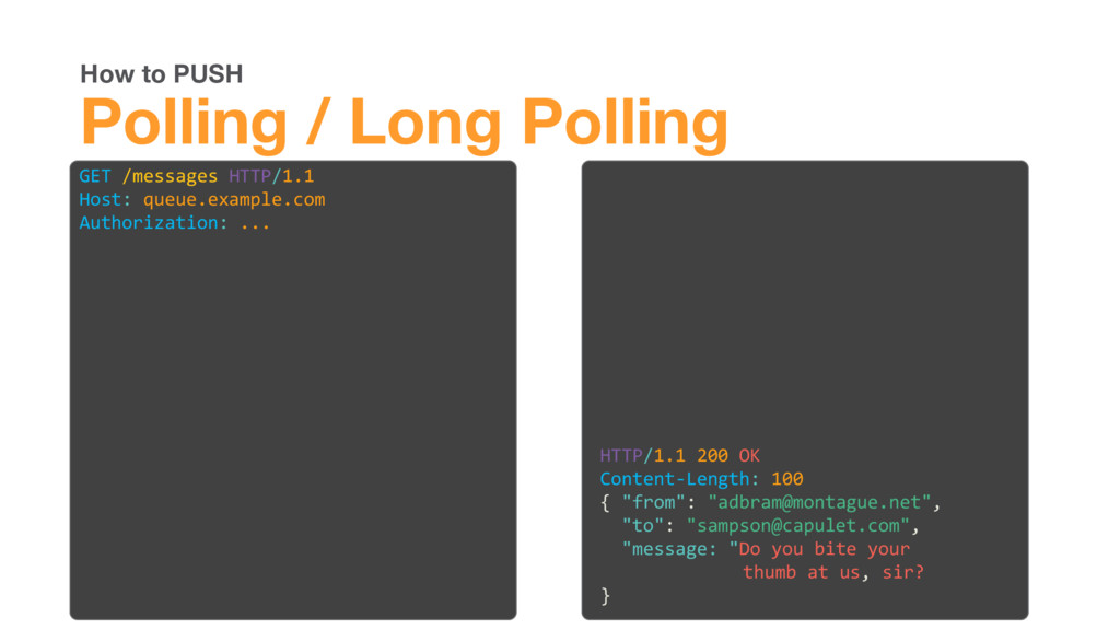 How to PUSH Polling / Long Polling GET /message...