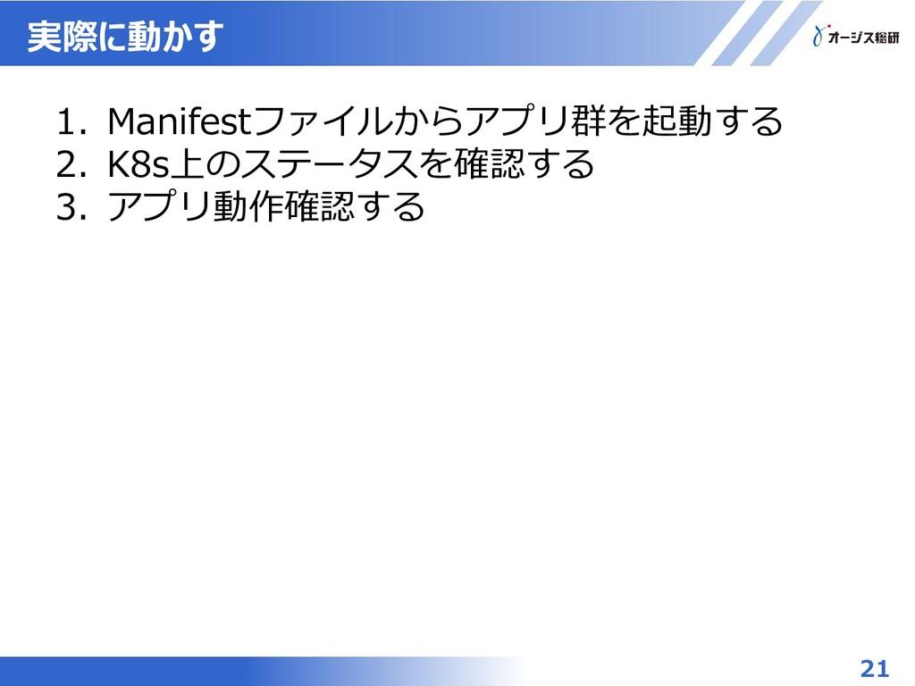 実際に動かす 21 1. Manifestファイルからアプリ群を起動する 2. K8s上のステ...