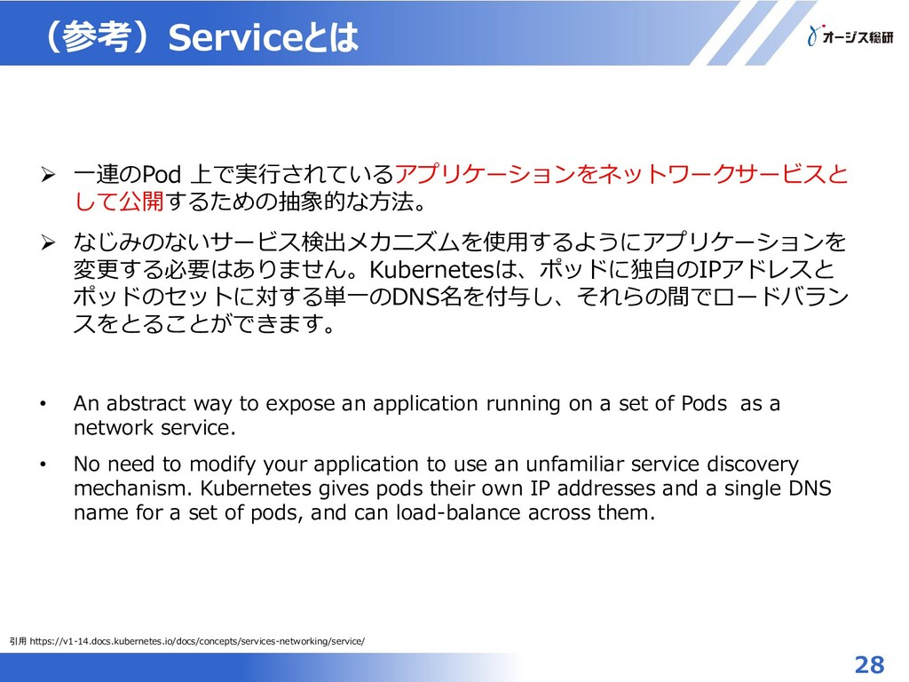 (参考)Serviceとは 28  一連のPod 上で実行されているアプリケーションをネット...