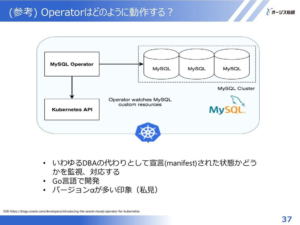 (参考) Operatorはどのように動作する? • いわゆるDBAの代わりとして宣言(man...