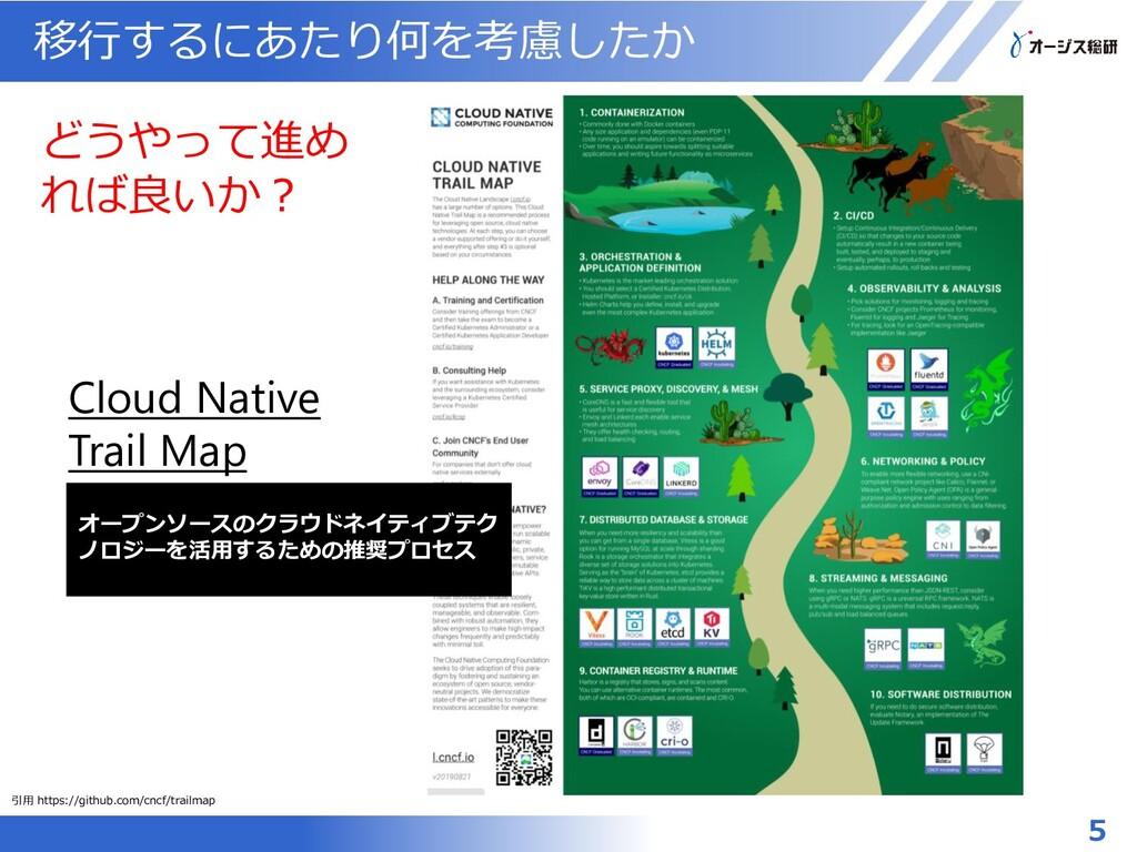 移行するにあたり何を考慮したか 5 Cloud Native Trail Map オープンソー...