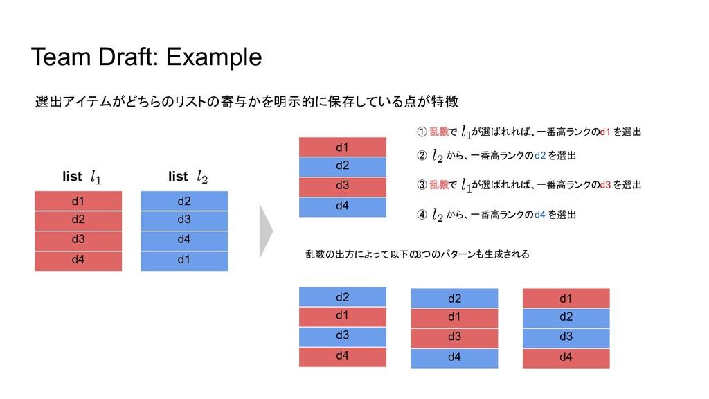 Team Draft: Example d1 d2 d3 d4 d2 d3 d4 d1 d1 ...