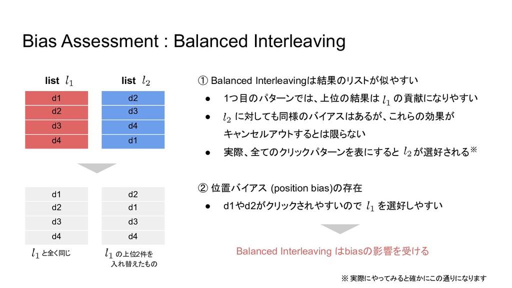 の上位2件を 入れ替えたもの Bias Assessment : Balanced Inte...