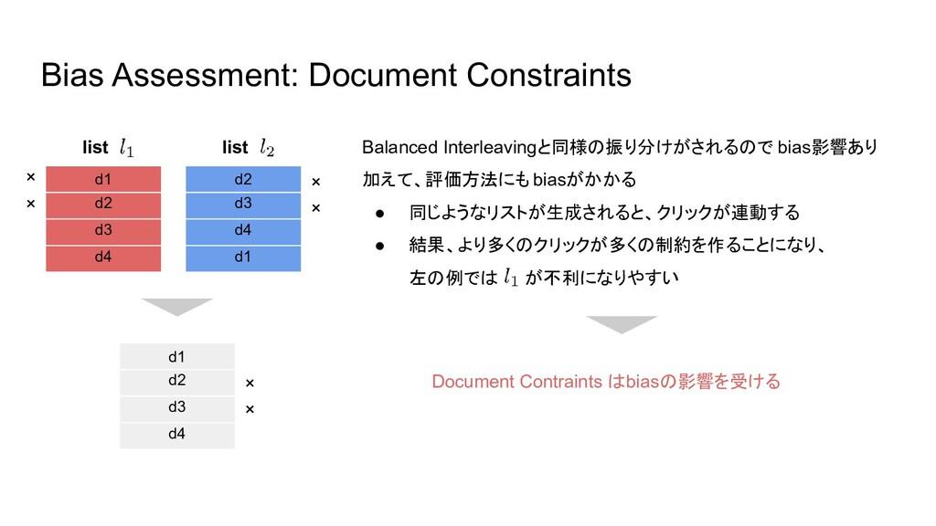 Bias Assessment: Document Constraints d1 d2 d3 ...