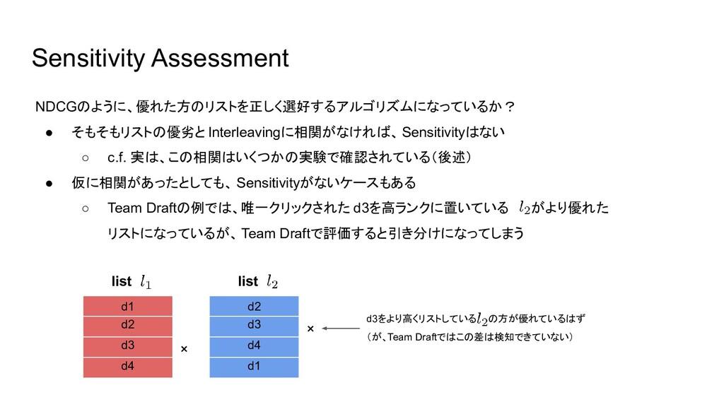 Sensitivity Assessment NDCGのように、優れた方のリストを正しく選好す...