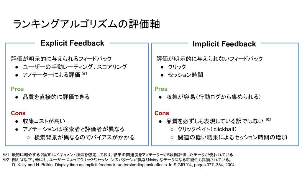 ランキングアルゴリズムの評価軸 評価が明示的に与えられるフィードバック ● ユーザーの手動レー...