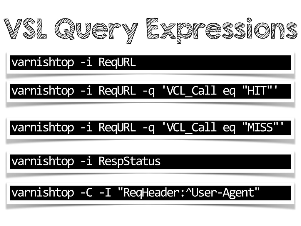 VSL Query Expressions varnishtop -‐i Req...