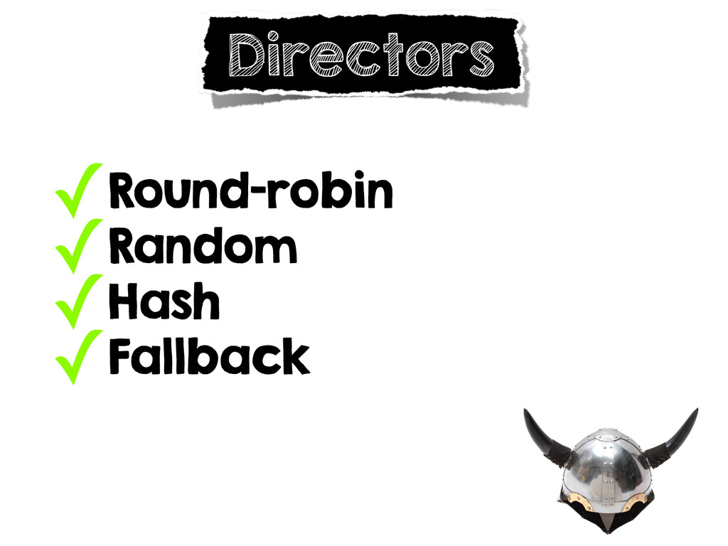 ✓Round-robin ✓Random ✓Hash ✓Fallback Directors