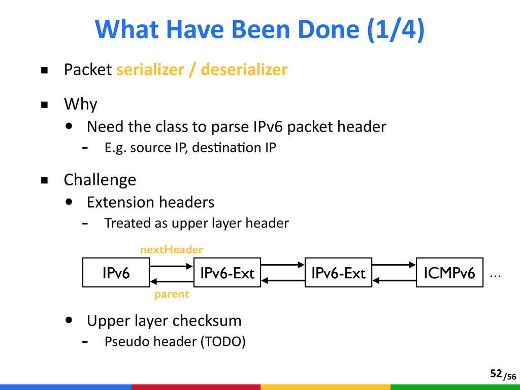 /56 ■ Packet serializer / deserializer  ■ W...