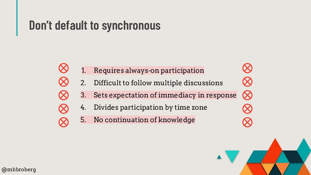 Don't default to synchronous 1. Requires always...