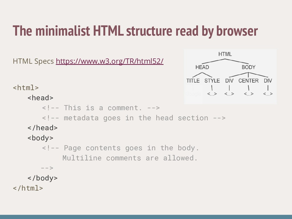 The minimalist HTML structure read by browser H...