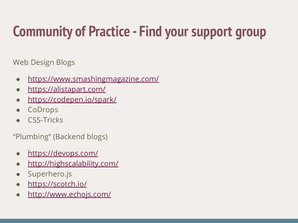 Community of Practice - Find your support group...