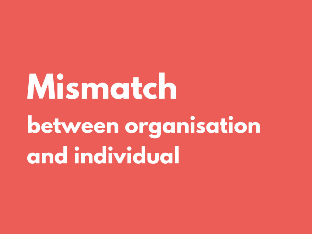 Mismatch between organisation and individual
