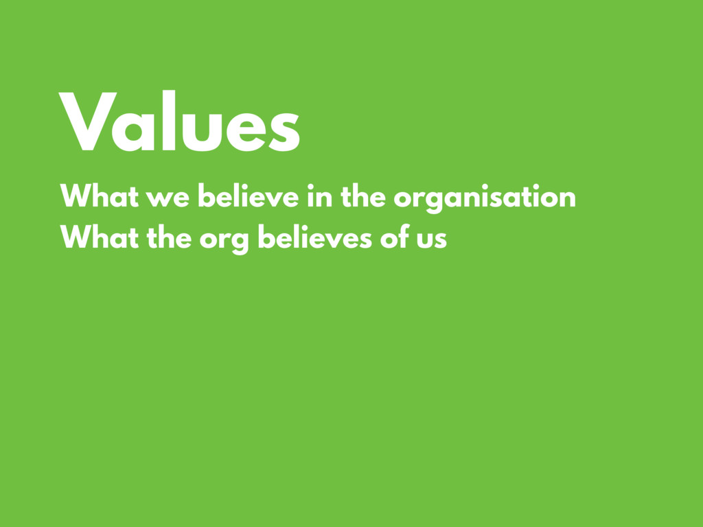 Values What we believe in the organisation What...