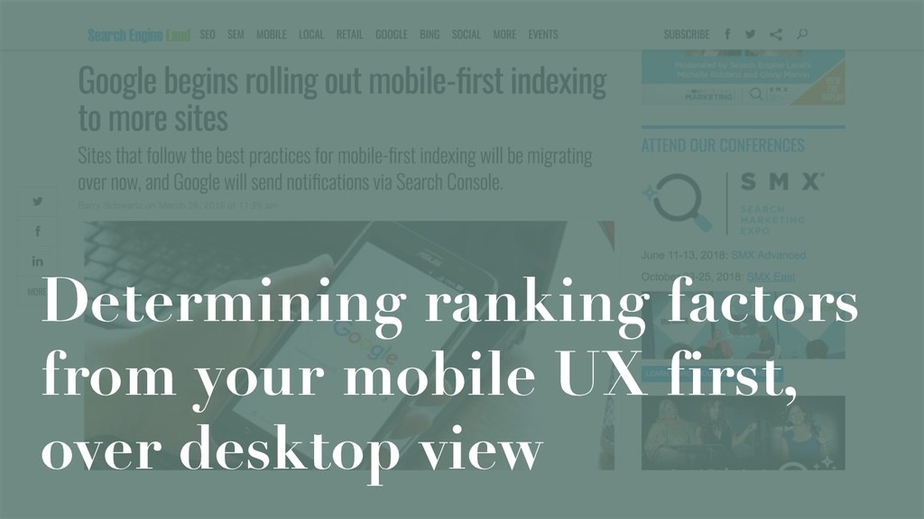 Determining ranking factors from your mobile UX...