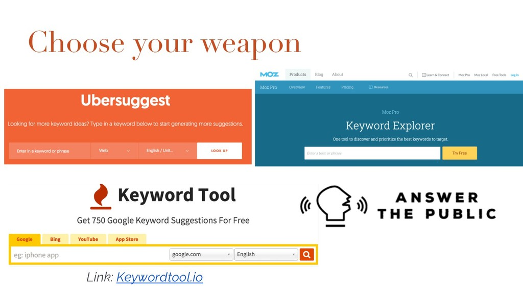 Choose your weapon Moz Keyword Explorer http://...