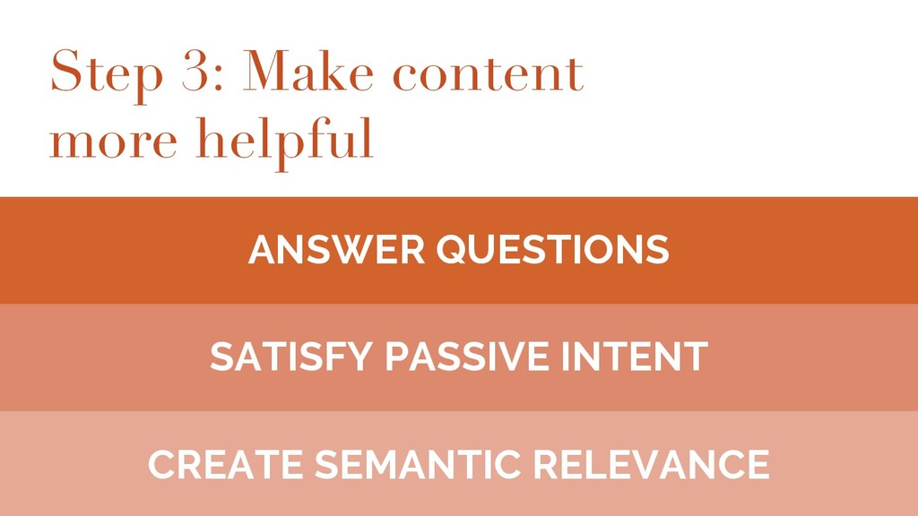 Step 3: Make content more helpful ANSWER QUESTI...
