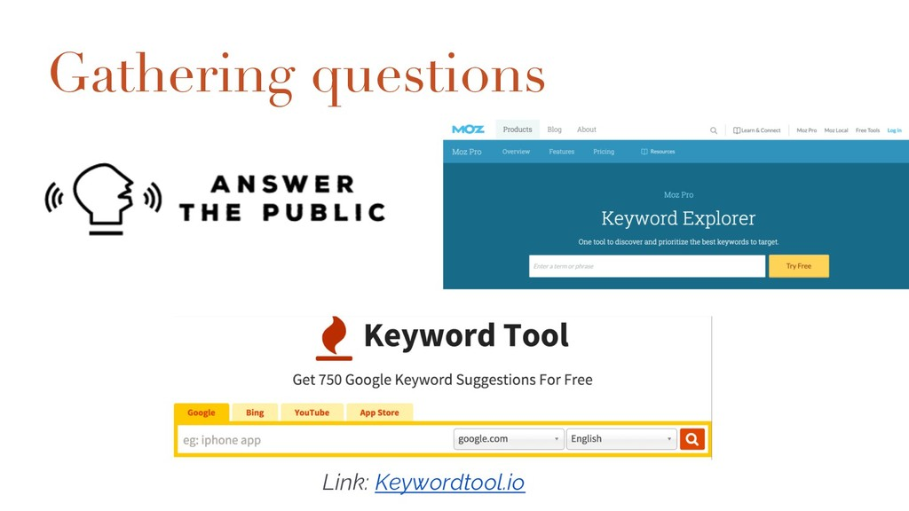 Gathering questions Moz Keyword Explorer http:/...