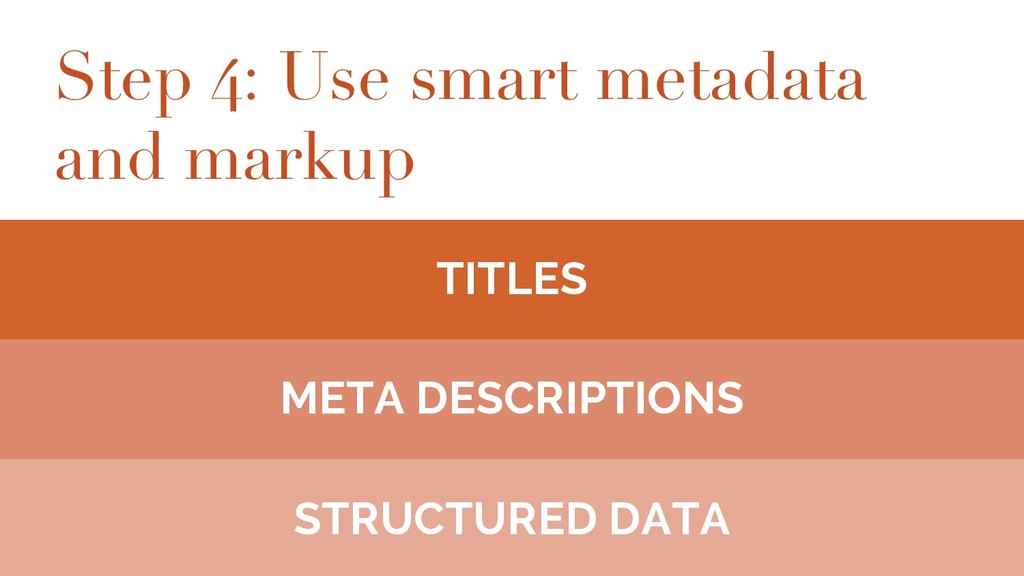 Step 4: Use smart metadata and markup TITLES ME...