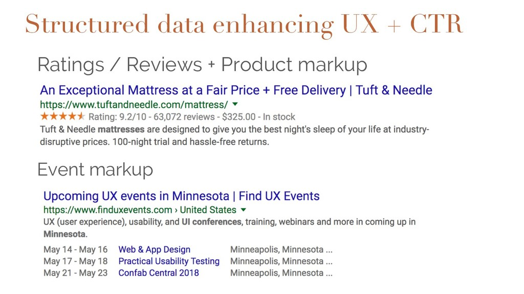 Ratings / Reviews + Product markup Event markup...