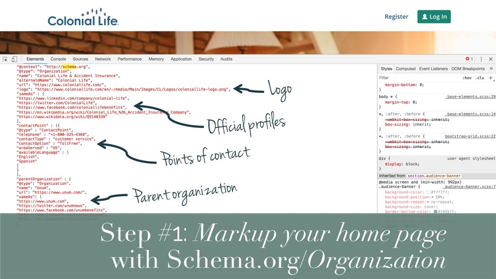 Logo Step #1: Markup your home page with Schema...