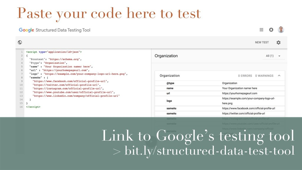 Link to Google's testing tool > bit.ly/structur...