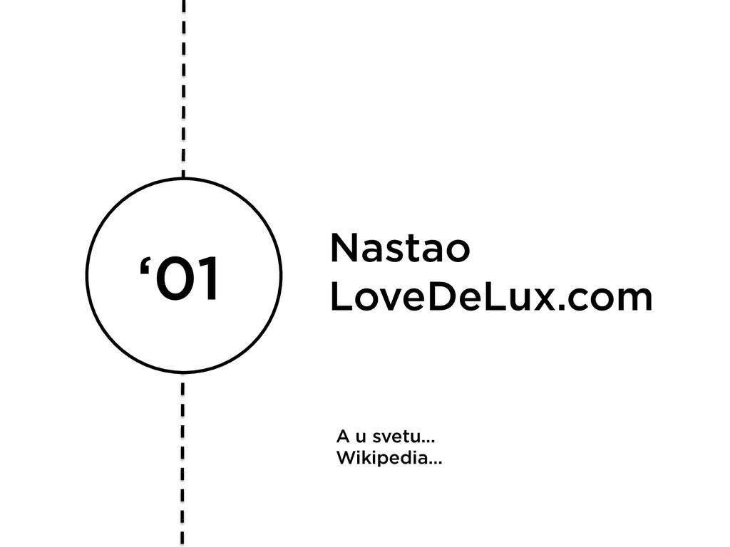 '01 Nastao LoveDeLux.com A u svetu… Wikipedia…