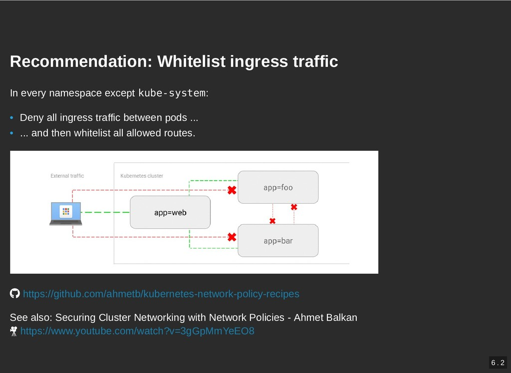 Recommendation: Whitelist ingress traffic Recom...