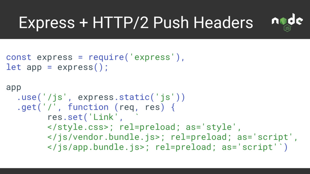 Express + HTTP/2 Push Headers const express = r...