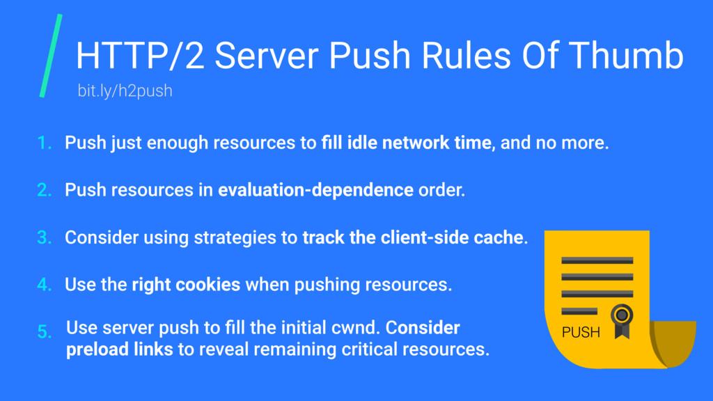 HTTP/2 Server Push Rules Of Thumb Push just eno...
