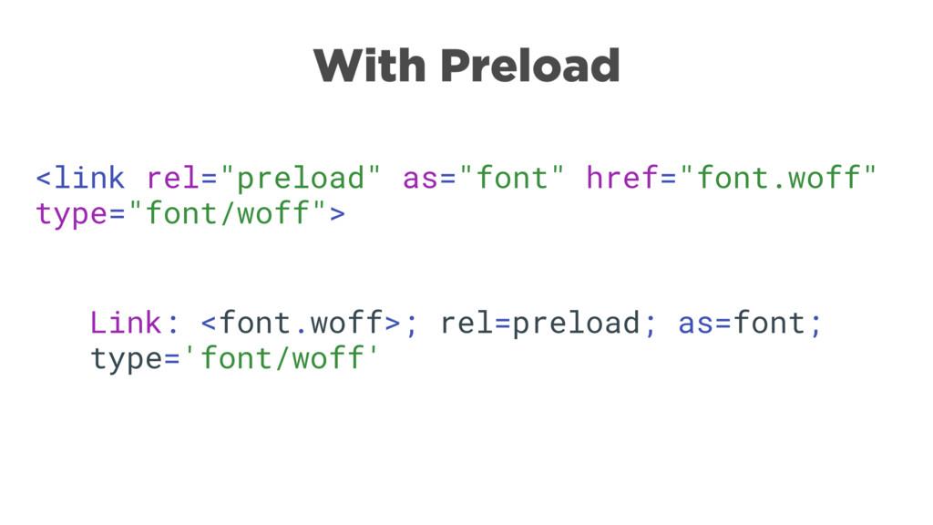 """<link rel=""""preload"""" as=""""font"""" href=""""font.woff"""" ..."""