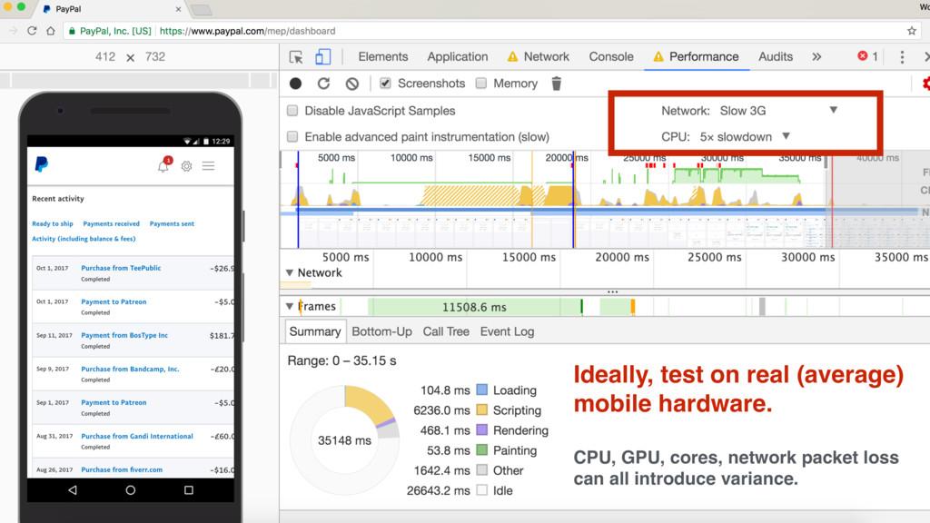 Ideally, test on real (average) mobile hardware...
