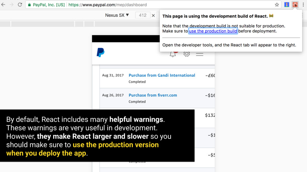 By default, React includes many helpful warning...