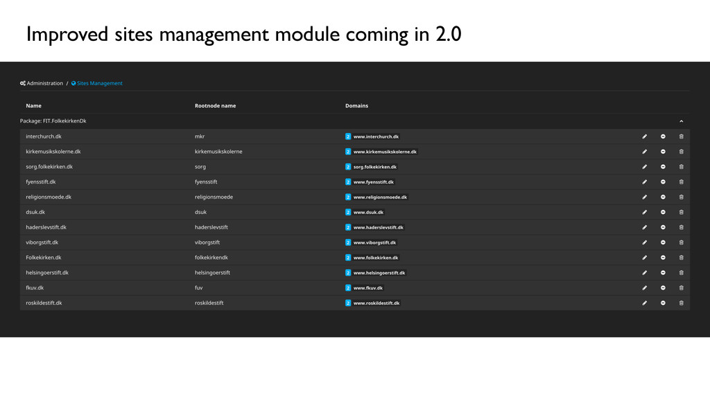 Improved sites management module coming in 2.0