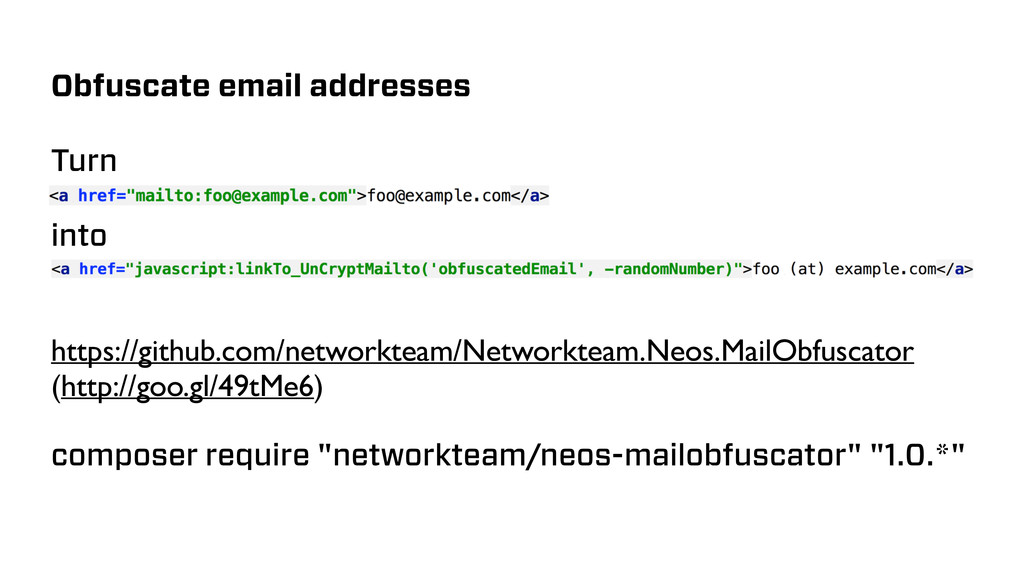 Obfuscate email addresses Turn into https://git...