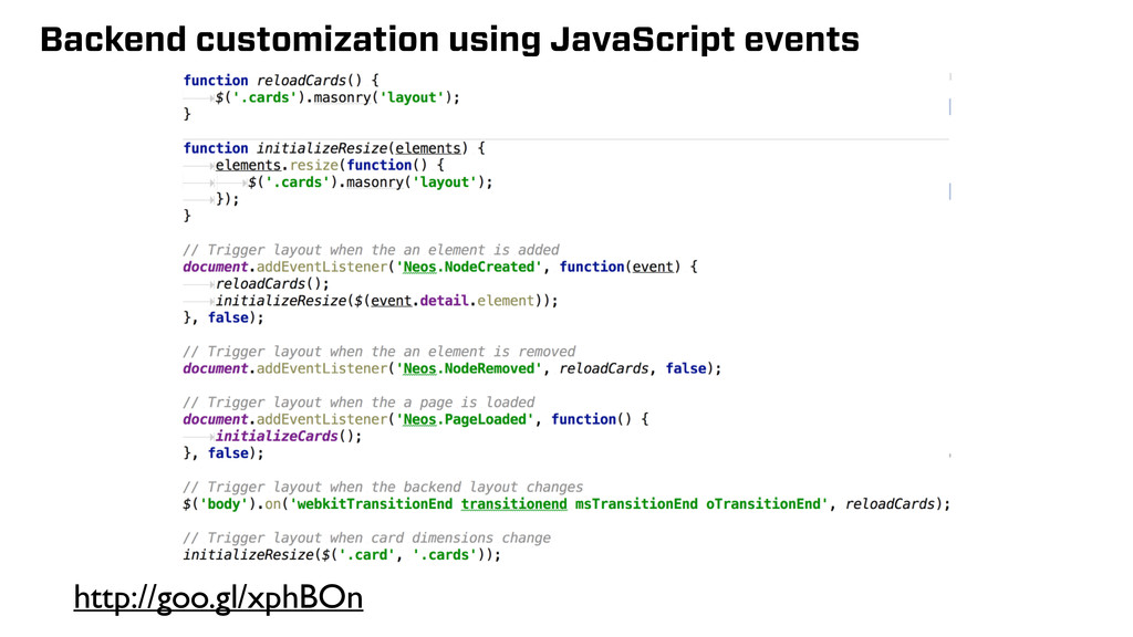 Backend customization using JavaScript events h...