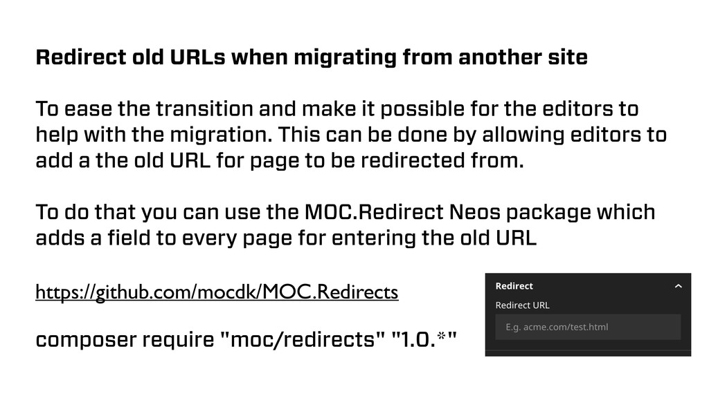 Redirect old URLs when migrating from another s...