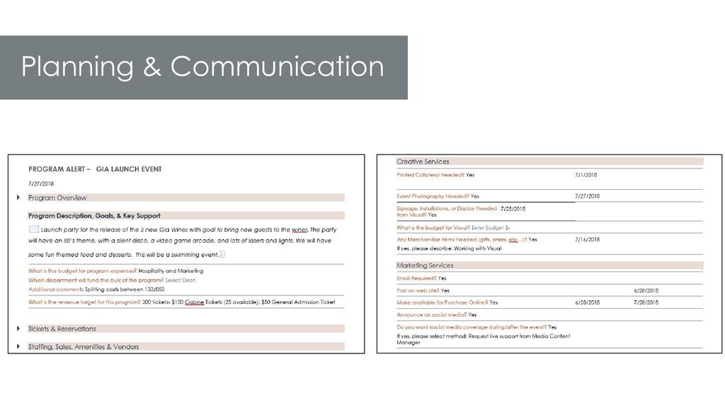 Planning & Communication