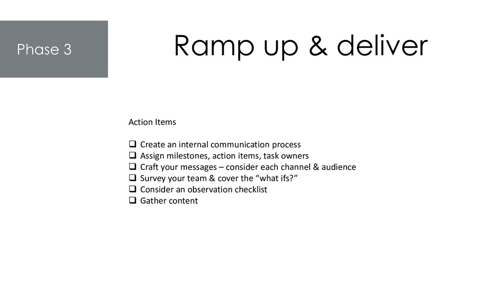 Phase 3 Ramp up & deliver Action Items ❑ Create...