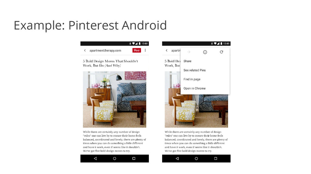 Example: Pinterest Android