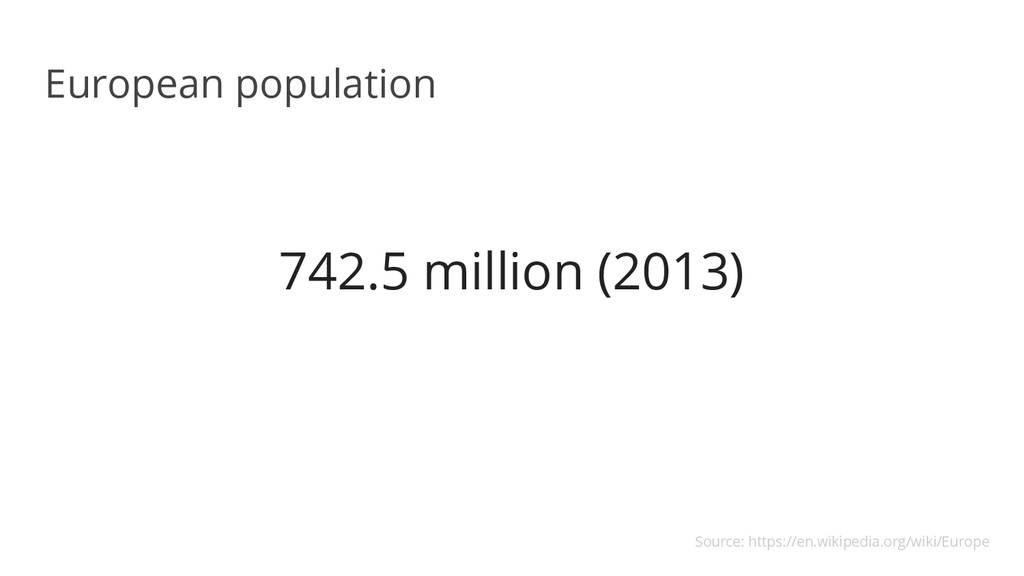 742.5 million (2013) European population Source...