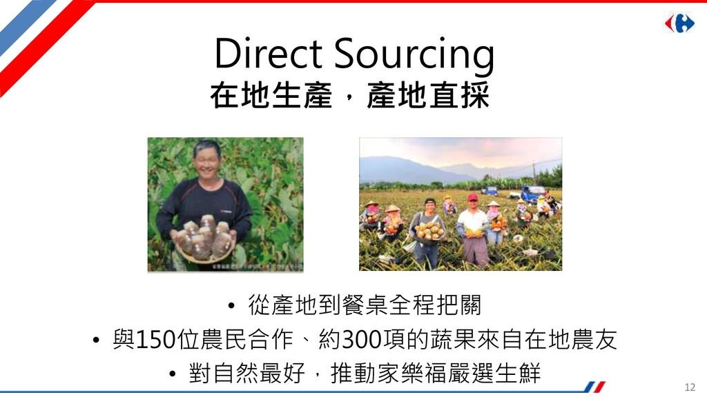12 Direct Sourcing • 從產地到餐桌全程把關 • 與150位農民合作、約30...