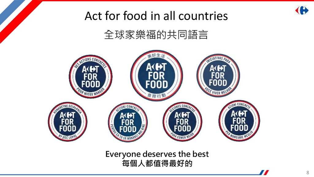 8 Act for food in all countries 全球家樂福的共同語言 Ever...