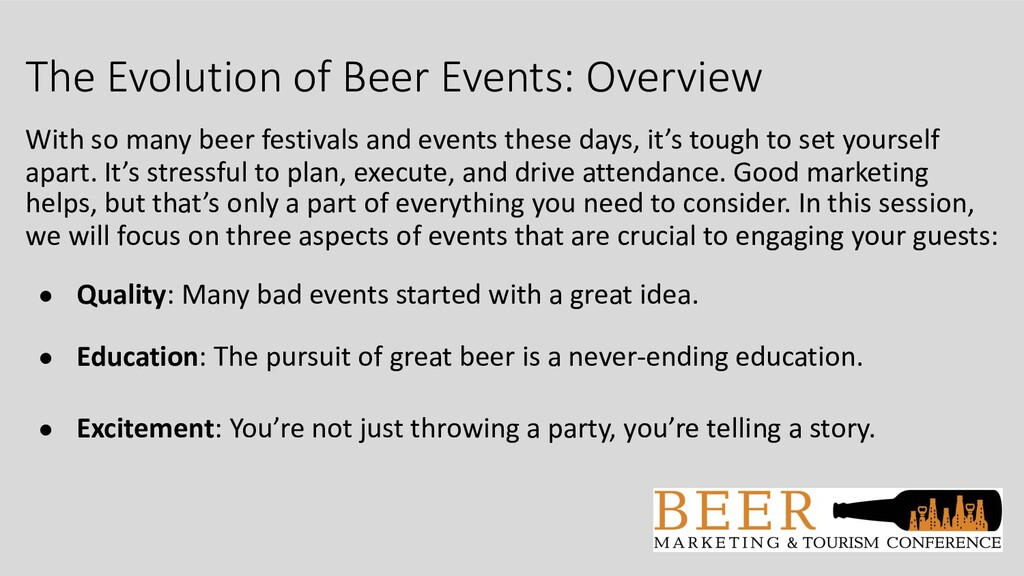 The Evolution of Beer Events: Overview With so ...